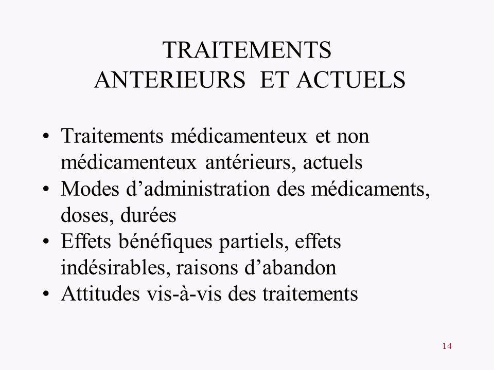 14 TRAITEMENTS ANTERIEURS ET ACTUELS Traitements médicamenteux et non médicamenteux antérieurs, actuels Modes dadministration des médicaments, doses,