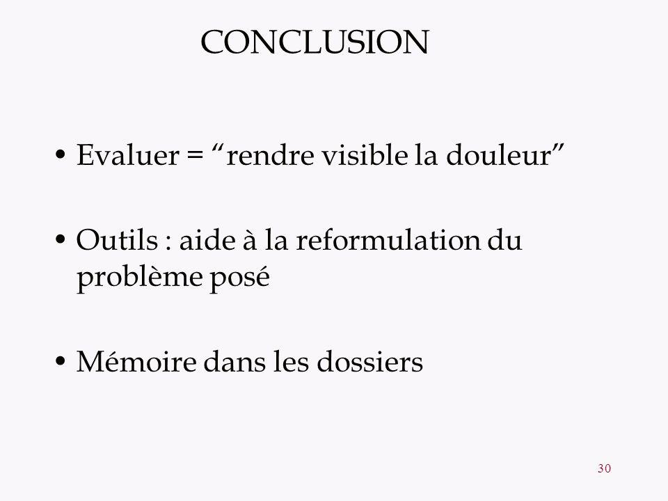 30 CONCLUSION Evaluer = rendre visible la douleur Outils : aide à la reformulation du problème posé Mémoire dans les dossiers