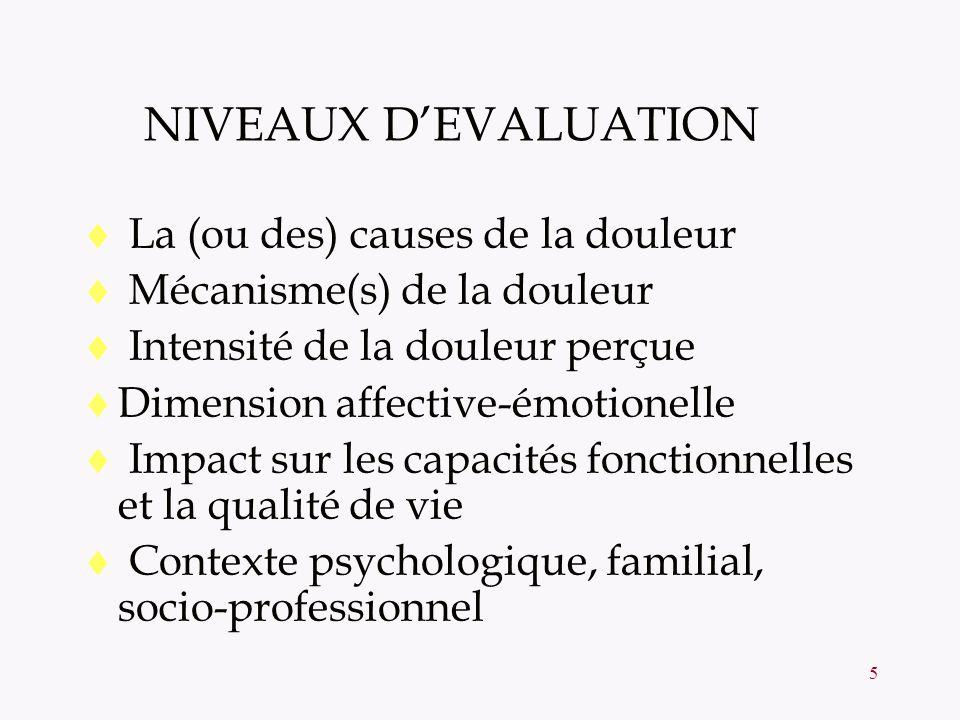 5 NIVEAUX DEVALUATION La (ou des) causes de la douleur Mécanisme(s) de la douleur Intensité de la douleur perçue Dimension affective-émotionelle Impac