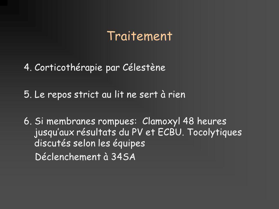 Traitement 4. Corticothérapie par Célestène 5. Le repos strict au lit ne sert à rien 6. Si membranes rompues: Clamoxyl 48 heures jusquaux résultats du