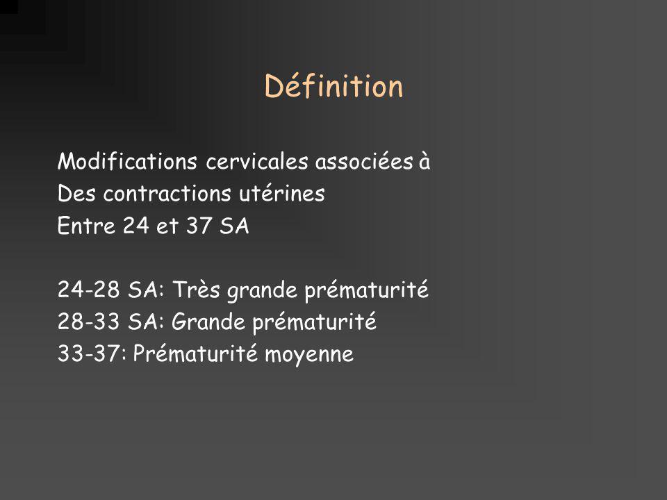Définition Modifications cervicales associées à Des contractions utérines Entre 24 et 37 SA 24-28 SA: Très grande prématurité 28-33 SA: Grande prématurité 33-37: Prématurité moyenne