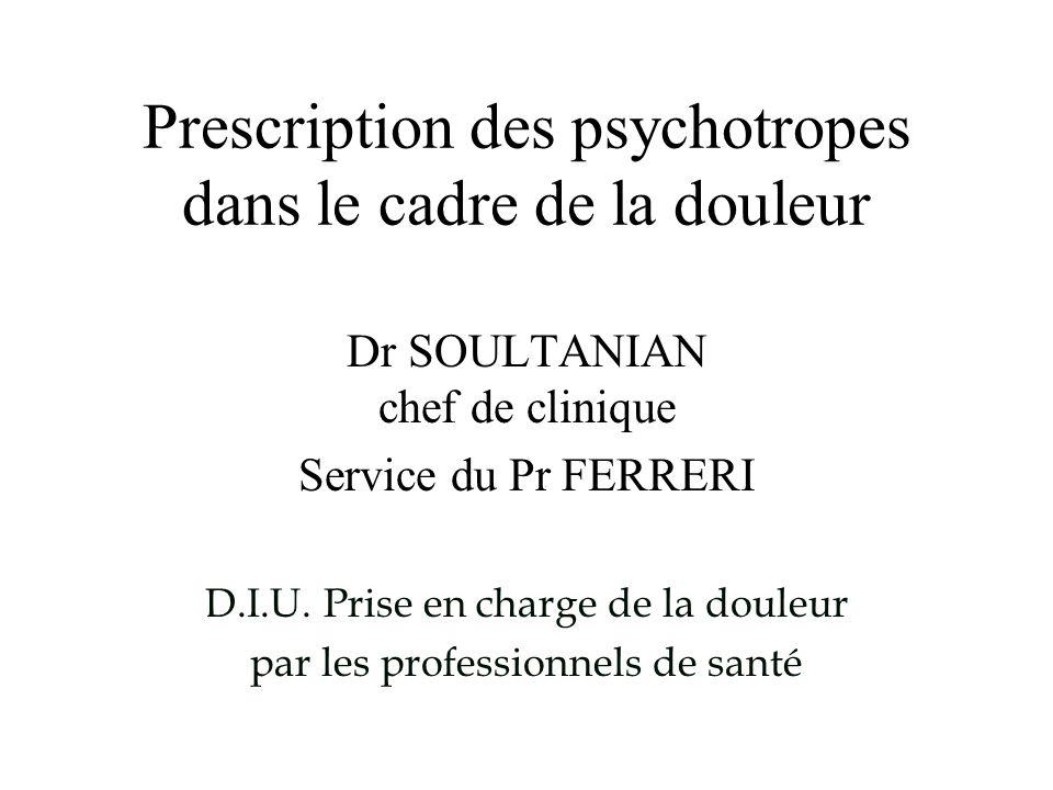 I.1 ANTIDEPRESSEURS (ATD) La fréquence de prescription des antidépresseurs, dans le traitement des syndromes douloureux, est loin d être négligeable (étude anglaise 1987) - 30% des antidépresseurs pour des syndromes douloureux - 56% pour les syndromes dépressifs