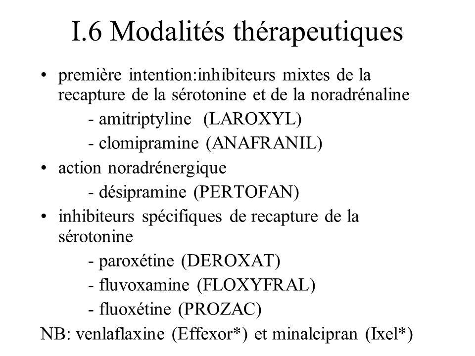 MODALITE Posologies progressive Inférieures aux doses thymoanaleptiques Pas de dose recommandées Délai defficacité: jusquà 2 à 3 semaines Durée du traitement: prolongée pour atteindre plusieurs mois au moins.