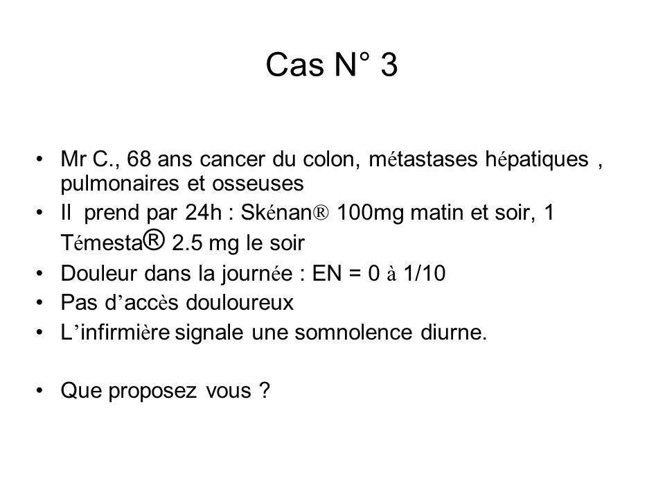 Cas N° 3 Mr C., 68 ans cancer du colon, m é tastases h é patiques, pulmonaires et osseuses Il prend par 24h : Sk é nan ® 100mg matin et soir, 1 T é me
