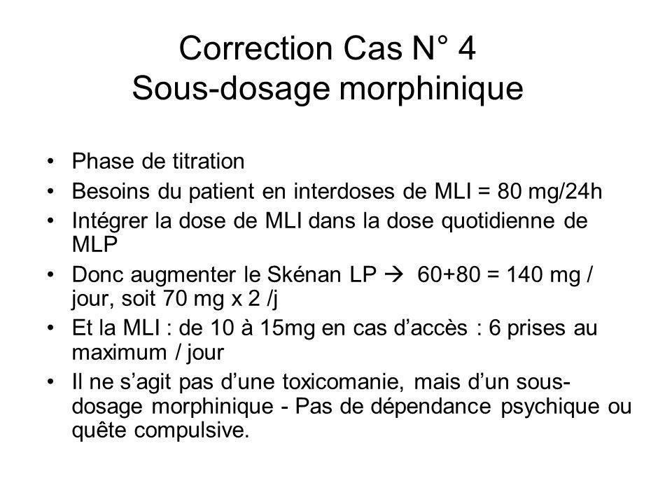 Correction Cas N° 4 Sous-dosage morphinique Phase de titration Besoins du patient en interdoses de MLI = 80 mg/24h Intégrer la dose de MLI dans la dos