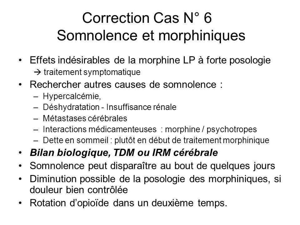 Correction Cas N° 6 Somnolence et morphiniques Effets indésirables de la morphine LP à forte posologie traitement symptomatique Rechercher autres caus