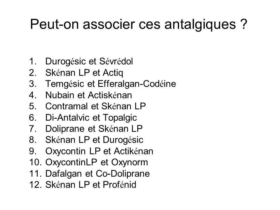 Peut-on associer ces antalgiques ? 1.Durog é sic et S é vr é dol 2.Sk é nan LP et Actiq 3.Temg é sic et Efferalgan-Cod é ine 4.Nubain et Actisk é nan
