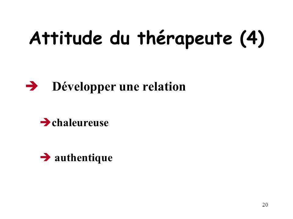 19 Attitude du thérapeute (3) Développer lempathie capacité de se mettre à la place du patient pour mieux comprendre la réalité et les émotions ressen