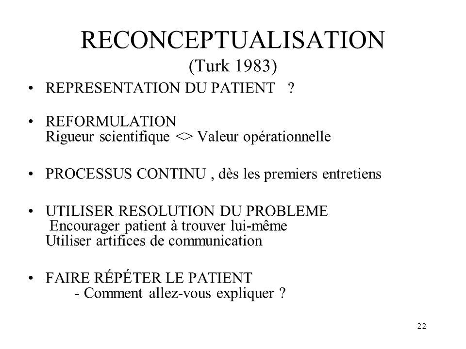 21 Pratique (1) Objectif: - donner vision rassurante - aider le patient a faire face Démarche : expliquer et informer le patient concernant les mécani