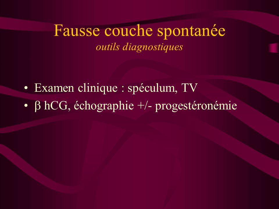 Fausse couche spontanée outils diagnostiques Examen clinique : spéculum, TV hCG, échographie +/- progestéronémie