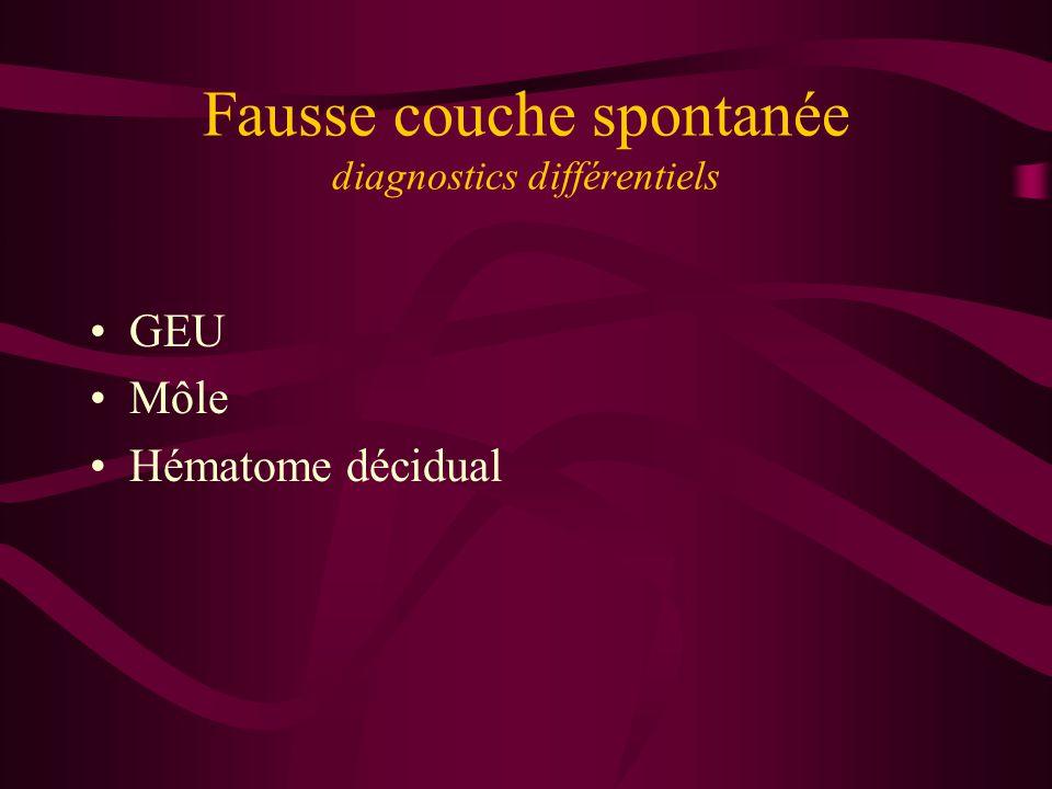 Fausse couche spontanée diagnostics différentiels GEU Môle Hématome décidual