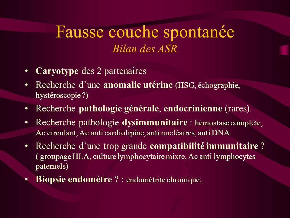 Fausse couche spontanée Bilan des ASR Caryotype des 2 partenaires Recherche dune anomalie utérine (HSG, échographie, hystéroscopie ?) Recherche pathologie générale, endocrinienne (rares).