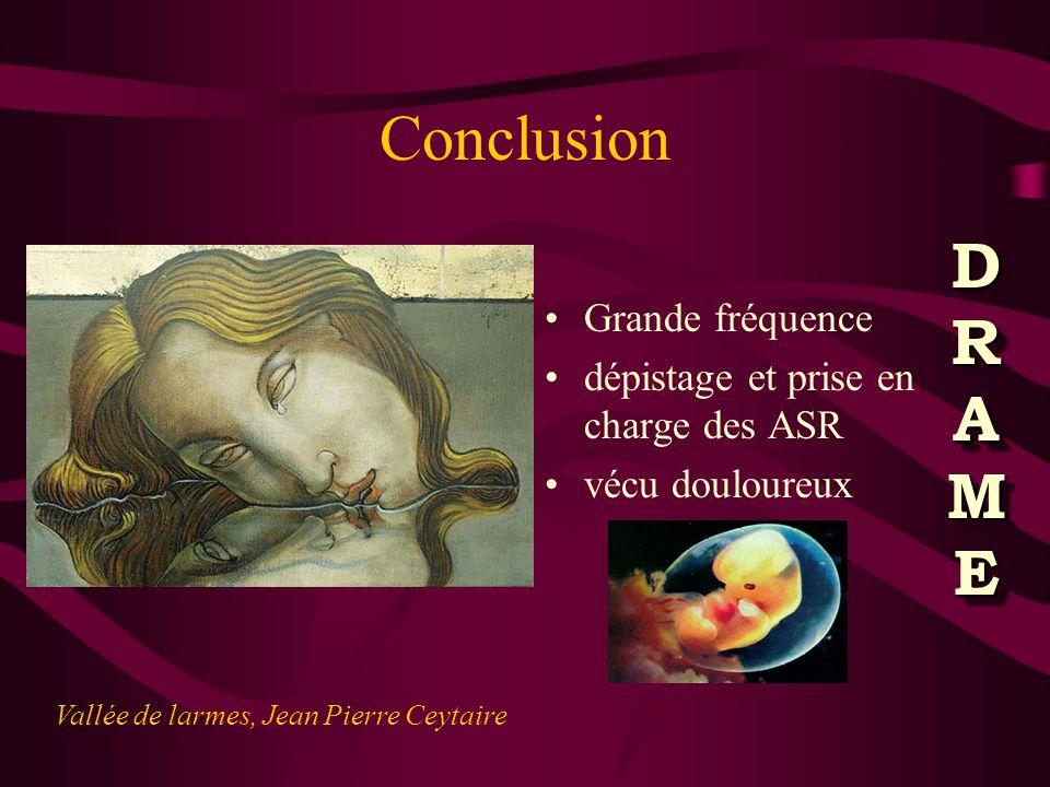 Conclusion Grande fréquence dépistage et prise en charge des ASR vécu douloureux Vallée de larmes, Jean Pierre Ceytaire DRAMEDRAMEDRAMEDRAME DRAMEDRAMEDRAMEDRAME