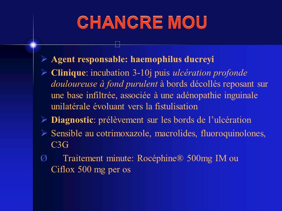 CHANCRE MOU Agent responsable: haemophilus ducreyi Clinique: incubation 3-10j puis ulcération profonde douloureuse à fond purulent à bords décollés re