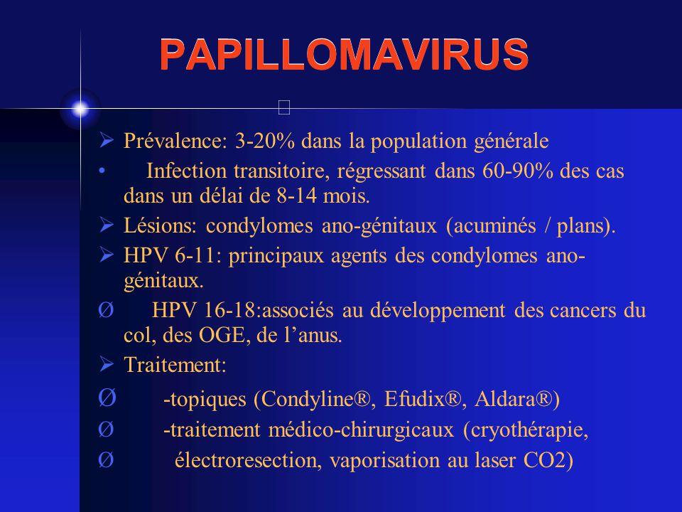 PAPILLOMAVIRUS Prévalence: 3-20% dans la population générale Infection transitoire, régressant dans 60-90% des cas dans un délai de 8-14 mois. Lésions