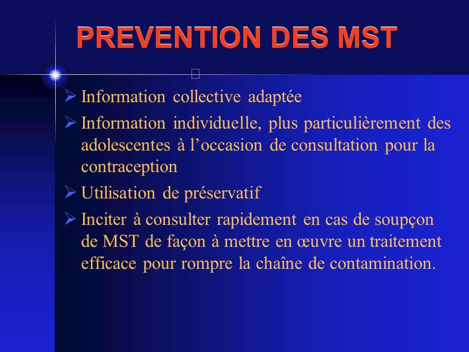 PREVENTION DES MST Information collective adaptée Information individuelle, plus particulièrement des adolescentes à loccasion de consultation pour la