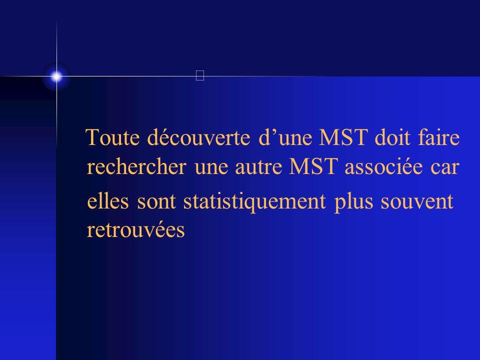 Toute découverte dune MST doit faire rechercher une autre MST associée car elles sont statistiquement plus souvent retrouvées