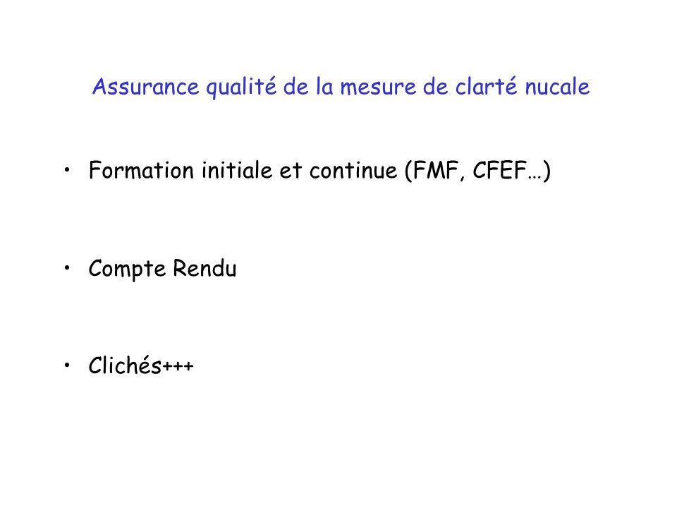 Assurance qualité de la mesure de clarté nucale Formation initiale et continue (FMF, CFEF…) Compte Rendu Clichés+++
