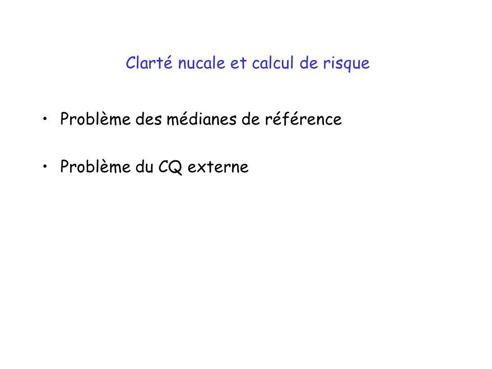Clarté nucale et calcul de risque Problème des médianes de référence Problème du CQ externe