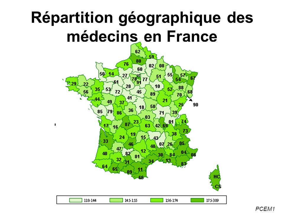PCEM1 Répartition géographique des médecins en France