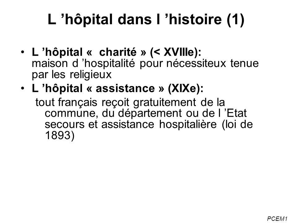 PCEM1 L hôpital dans l histoire (1) L hôpital « charité » (< XVIIIe): maison d hospitalité pour nécessiteux tenue par les religieux L hôpital « assistance » (XIXe): tout français reçoit gratuitement de la commune, du département ou de l Etat secours et assistance hospitalière (loi de 1893)