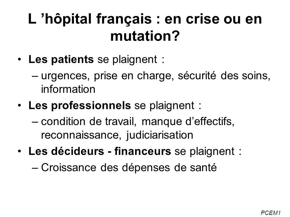 PCEM1 L hôpital français : en crise ou en mutation.