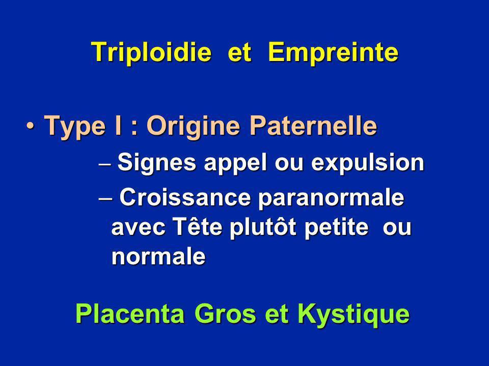 Triploidie et Empreinte Type I : Origine PaternelleType I : Origine Paternelle – Signes appel ou expulsion – Croissance paranormale avec Tête plutôt p