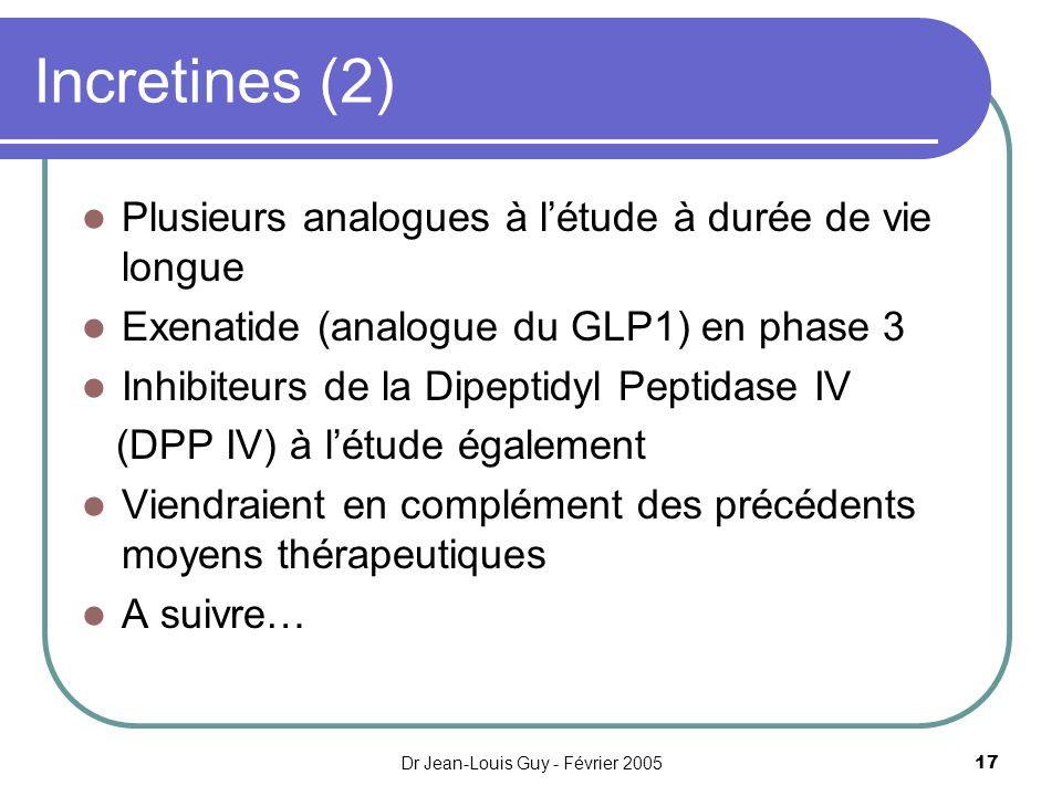 Dr Jean-Louis Guy - Février 200517 Incretines (2) Plusieurs analogues à létude à durée de vie longue Exenatide (analogue du GLP1) en phase 3 Inhibiteu