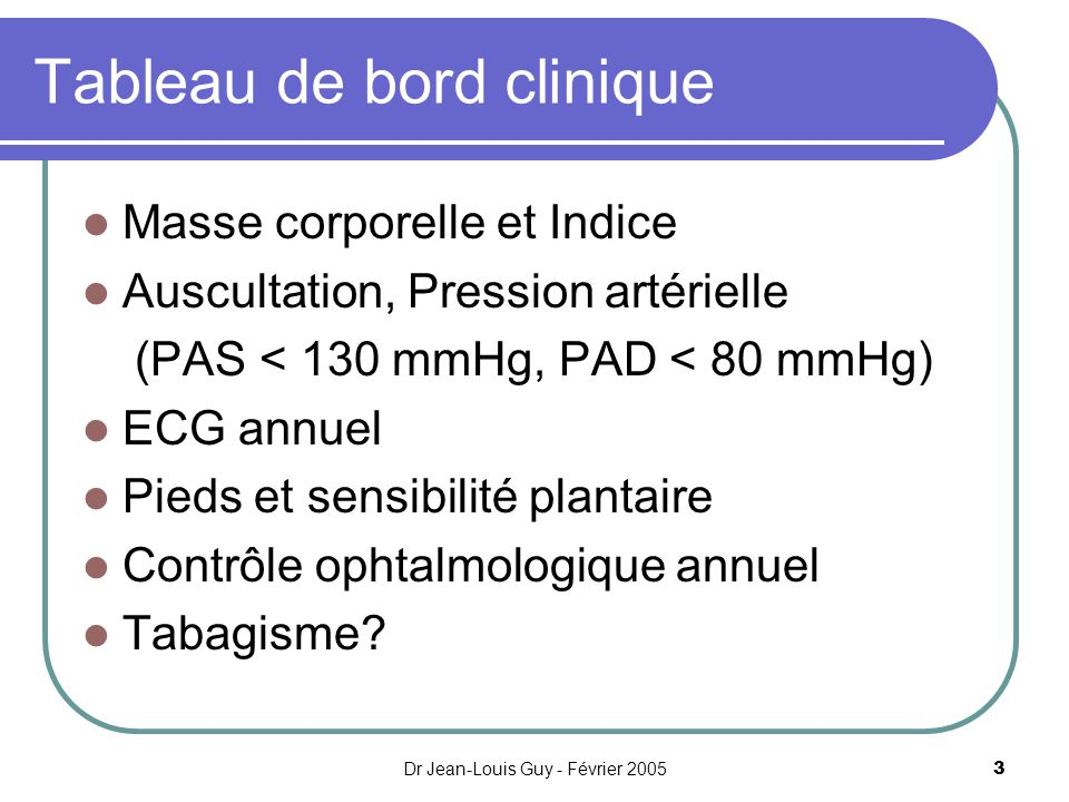 Dr Jean-Louis Guy - Février 20053 Tableau de bord clinique Masse corporelle et Indice Auscultation, Pression artérielle (PAS < 130 mmHg, PAD < 80 mmHg
