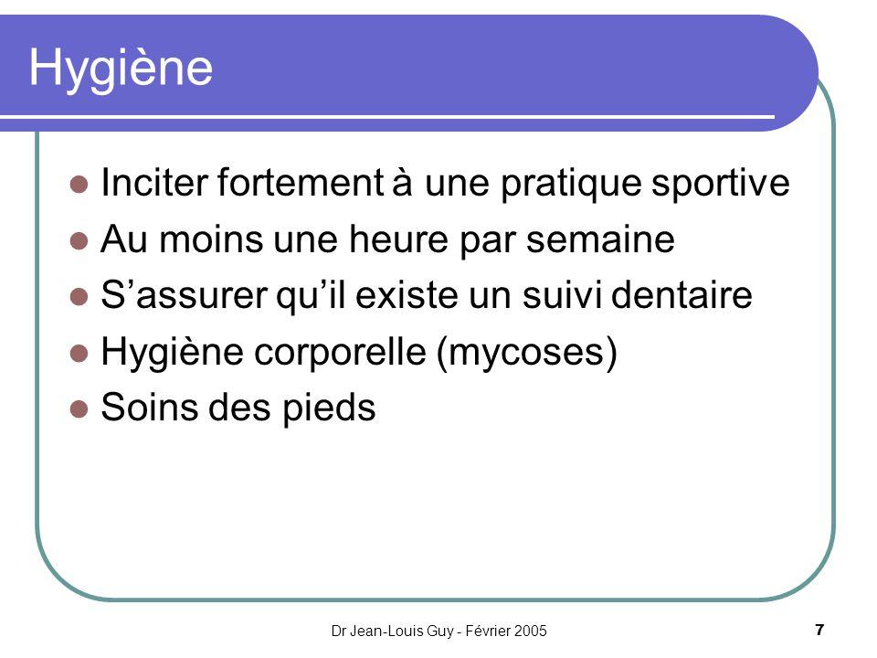 Dr Jean-Louis Guy - Février 20057 Hygiène Inciter fortement à une pratique sportive Au moins une heure par semaine Sassurer quil existe un suivi denta