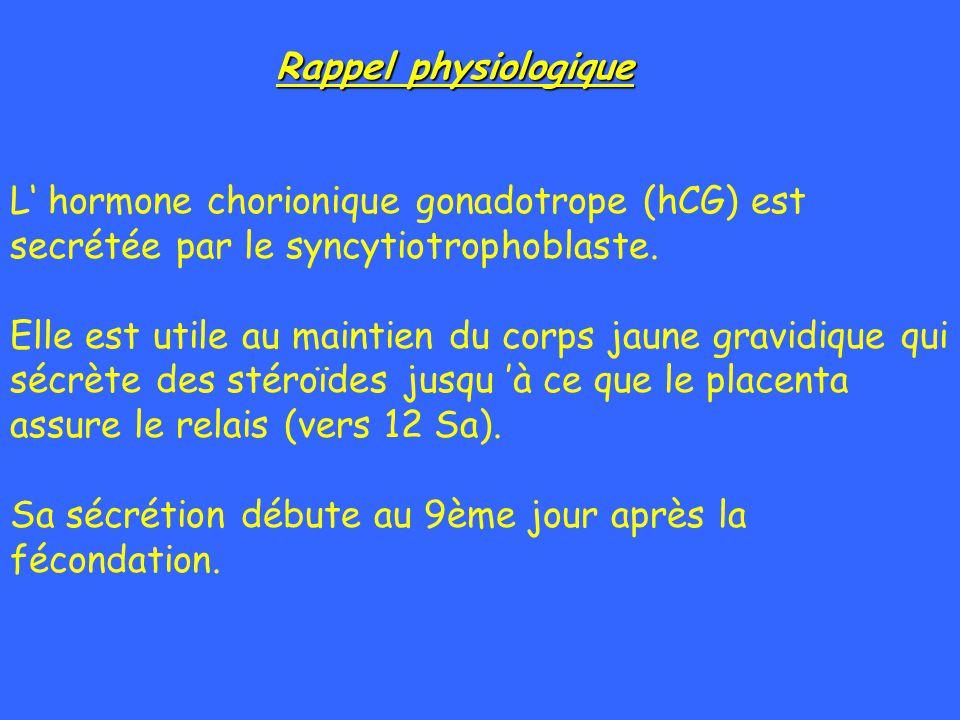 Rappel physiologique L hormone chorionique gonadotrope (hCG) est secrétée par le syncytiotrophoblaste. Elle est utile au maintien du corps jaune gravi