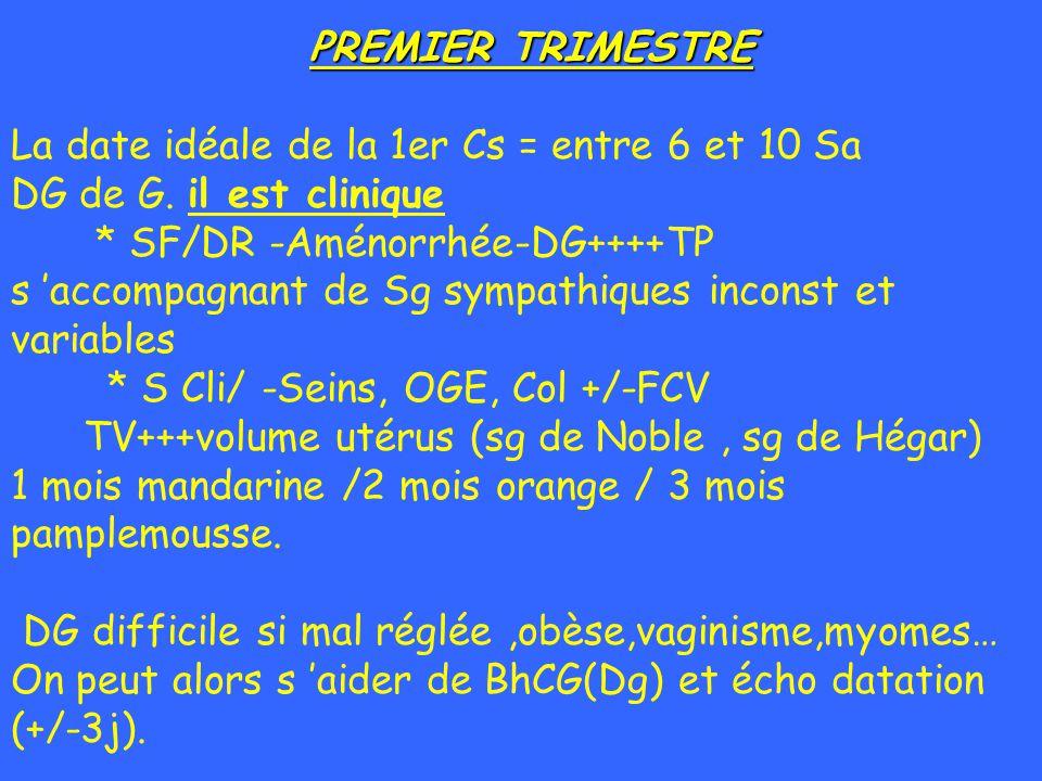 PREMIER TRIMESTRE La date idéale de la 1er Cs = entre 6 et 10 Sa DG de G. il est clinique * SF/DR -Aménorrhée-DG++++TP s accompagnant de Sg sympathiqu