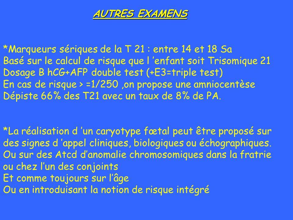AUTRES EXAMENS *Marqueurs sériques de la T 21 : entre 14 et 18 Sa Basé sur le calcul de risque que l enfant soit Trisomique 21 Dosage B hCG+AFP double