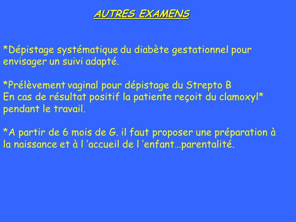 AUTRES EXAMENS *Dépistage systématique du diabète gestationnel pour envisager un suivi adapté. *Prélèvement vaginal pour dépistage du Strepto B En cas