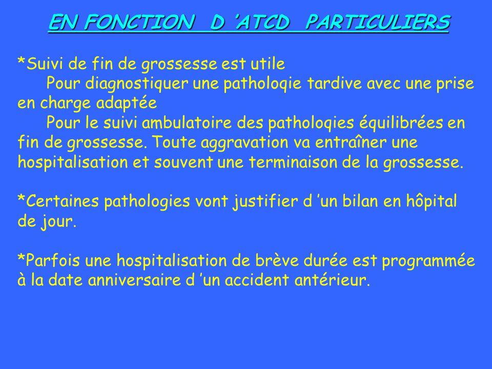 EN FONCTION D ATCD PARTICULIERS *Suivi de fin de grossesse est utile Pour diagnostiquer une patholoqie tardive avec une prise en charge adaptée Pour l