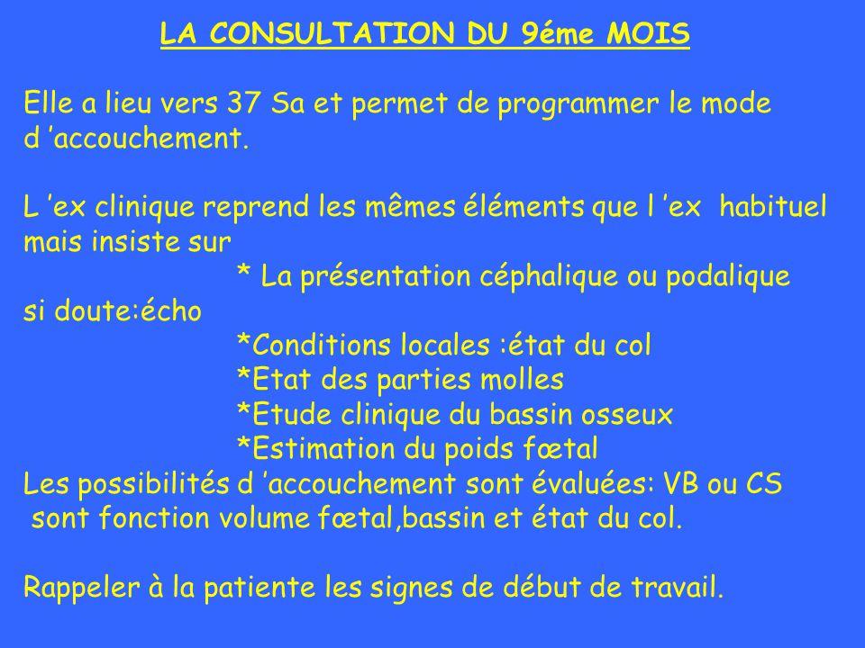 LA CONSULTATION DU 9éme MOIS Elle a lieu vers 37 Sa et permet de programmer le mode d accouchement. L ex clinique reprend les mêmes éléments que l ex