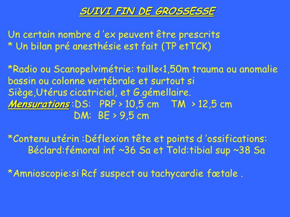 SUIVI FIN DE GROSSESSE Un certain nombre d ex peuvent être prescrits * Un bilan pré anesthésie est fait (TP etTCK) *Radio ou Scanopelvimétrie: taille<