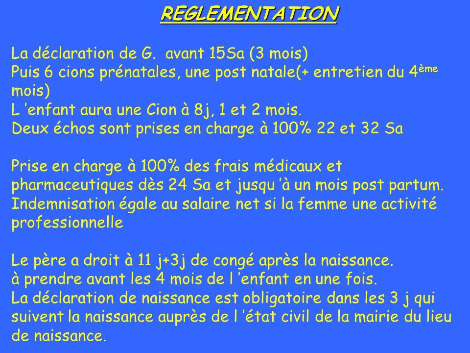REGLEMENTATION La déclaration de G. avant 15Sa (3 mois) Puis 6 cions prénatales, une post natale(+ entretien du 4 ème mois) L enfant aura une Cion à 8