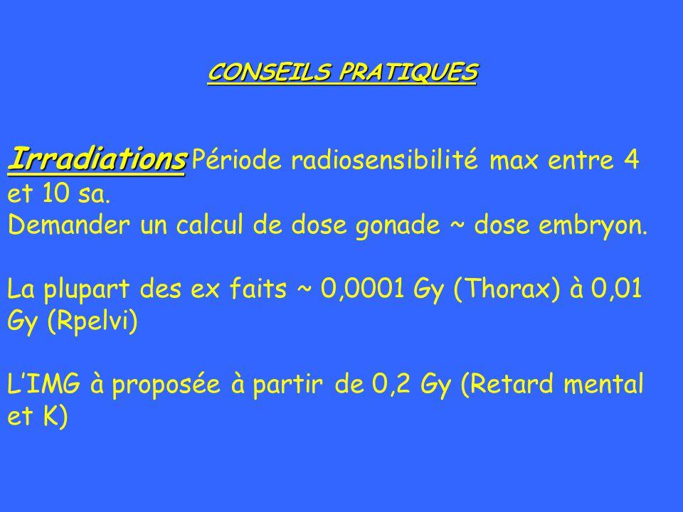 CONSEILS PRATIQUES Irradiations Irradiations Période radiosensibilité max entre 4 et 10 sa. Demander un calcul de dose gonade ~ dose embryon. La plupa