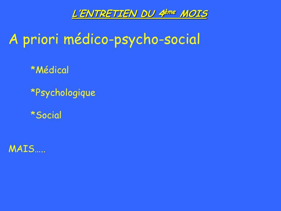 LENTRETIEN DU 4 ème MOIS A priori médico-psycho-social *Médical *Psychologique *Social MAIS…..