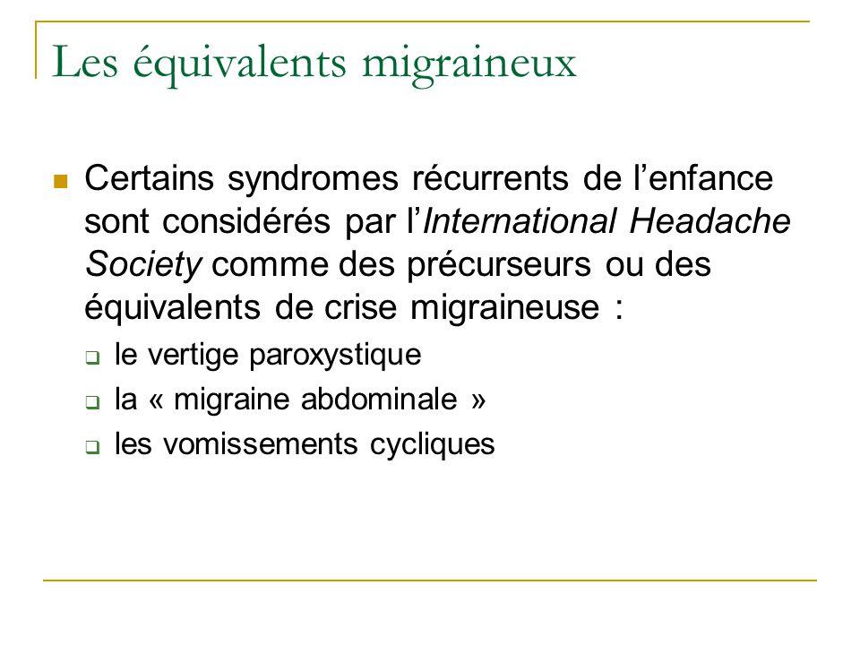 Les équivalents migraineux Certains syndromes récurrents de lenfance sont considérés par lInternational Headache Society comme des précurseurs ou des