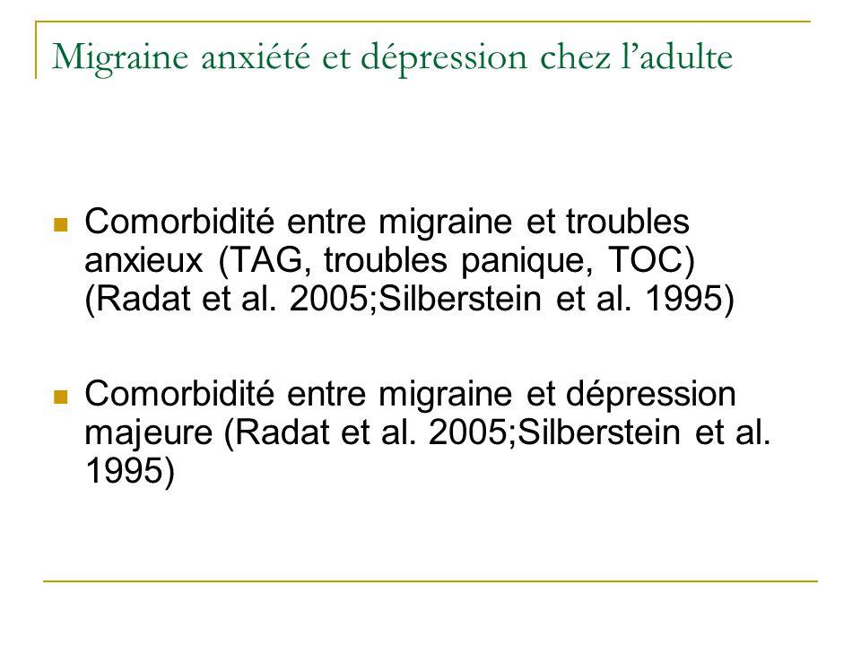 Migraine anxiété et dépression chez ladulte Comorbidité entre migraine et troubles anxieux (TAG, troubles panique, TOC) (Radat et al. 2005;Silberstein