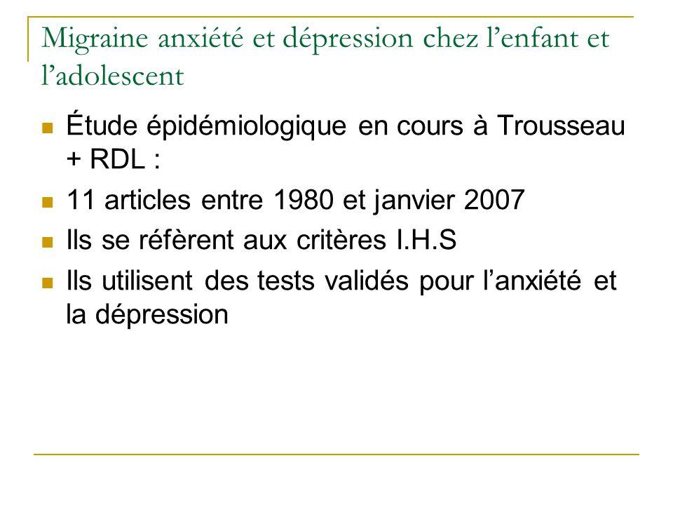 Migraine anxiété et dépression chez lenfant et ladolescent Étude épidémiologique en cours à Trousseau + RDL : 11 articles entre 1980 et janvier 2007 I