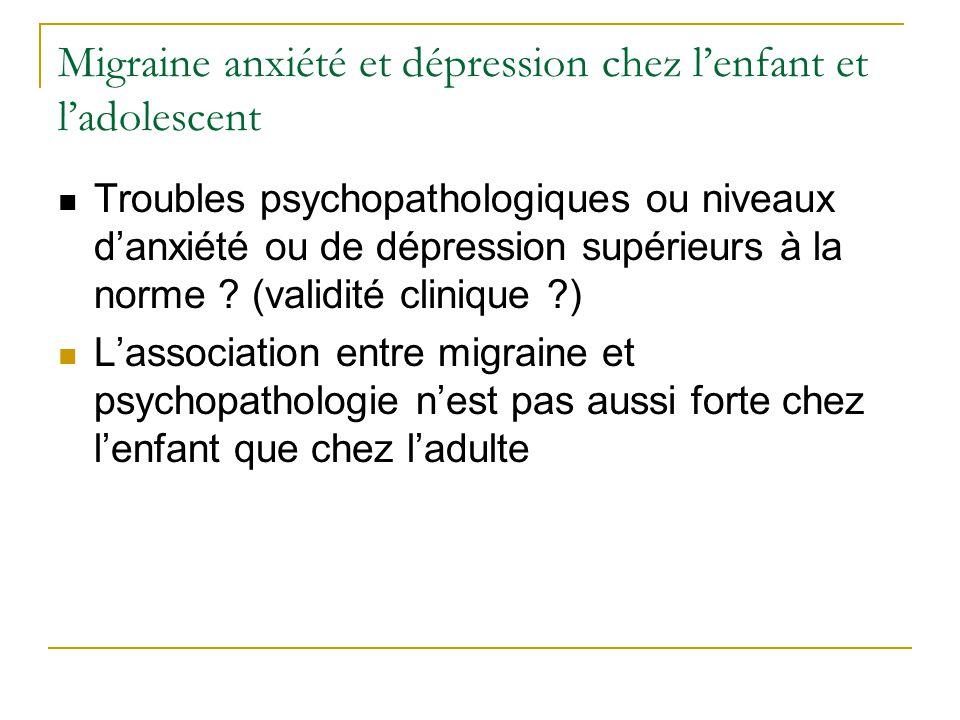 Migraine anxiété et dépression chez lenfant et ladolescent Troubles psychopathologiques ou niveaux danxiété ou de dépression supérieurs à la norme ? (