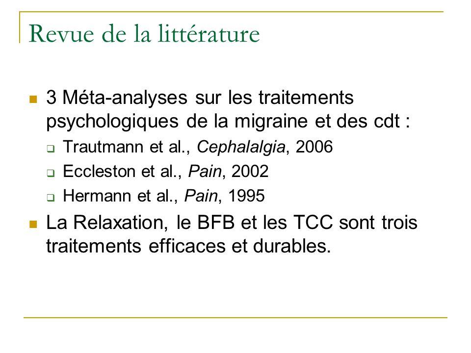 Revue de la littérature 3 Méta-analyses sur les traitements psychologiques de la migraine et des cdt : Trautmann et al., Cephalalgia, 2006 Eccleston e
