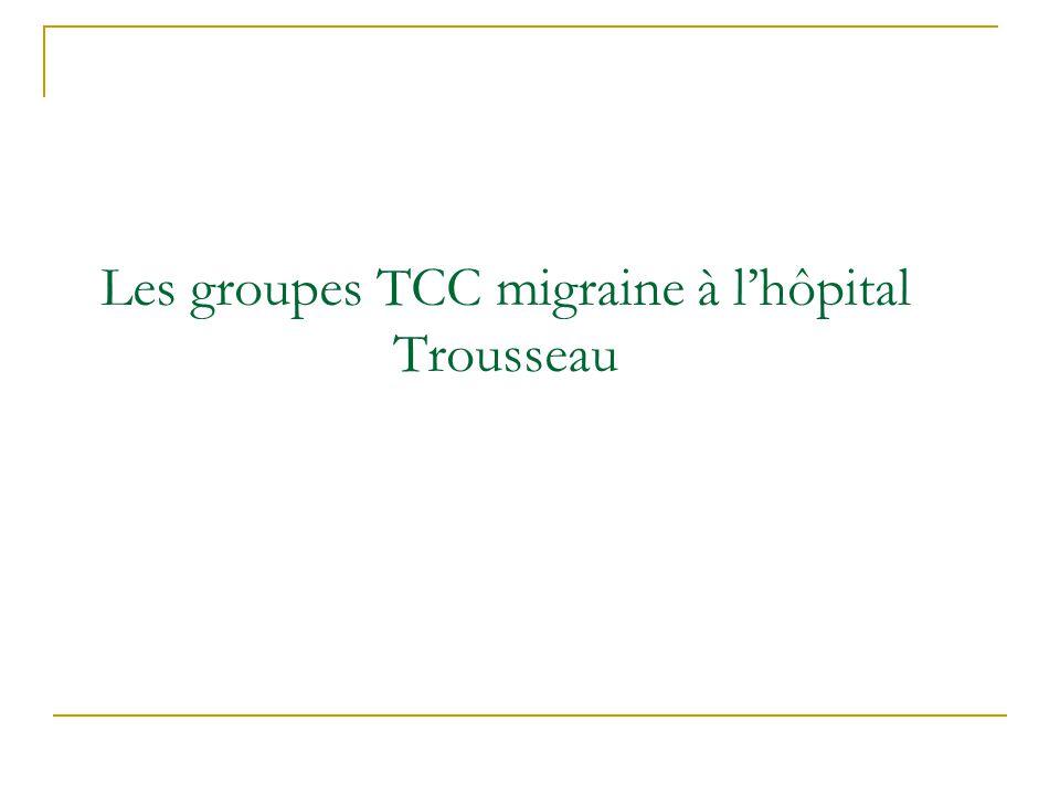 Les groupes TCC migraine à lhôpital Trousseau