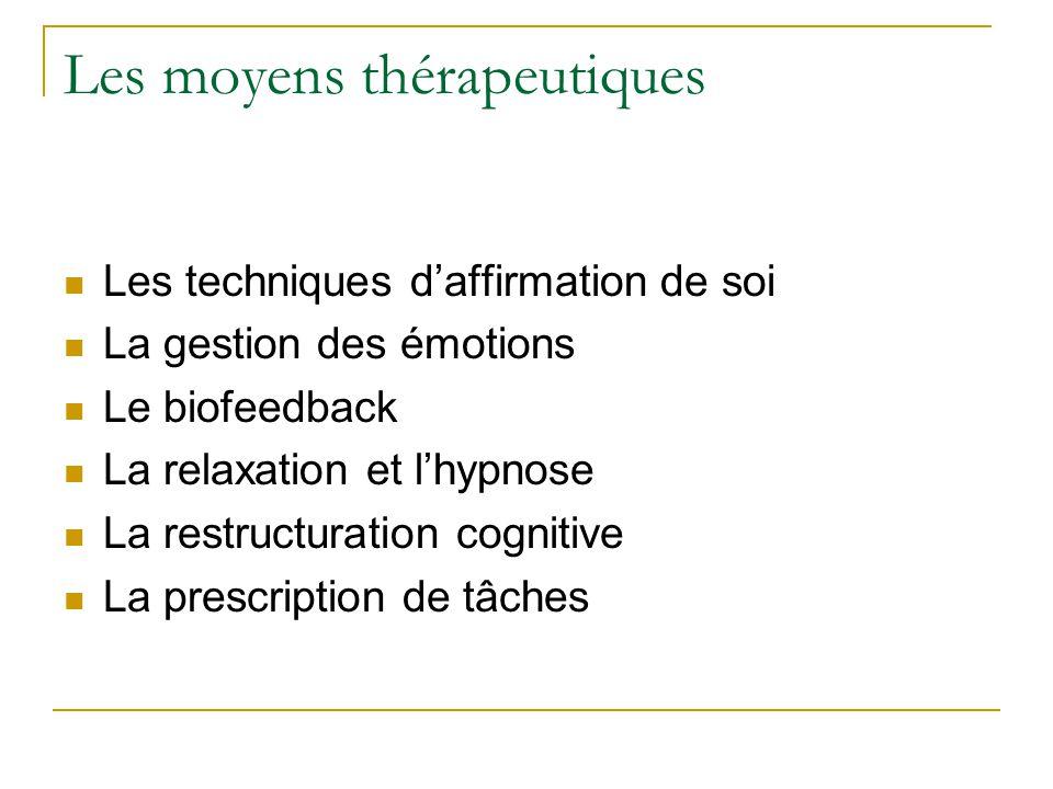 Les moyens thérapeutiques Les techniques daffirmation de soi La gestion des émotions Le biofeedback La relaxation et lhypnose La restructuration cogni