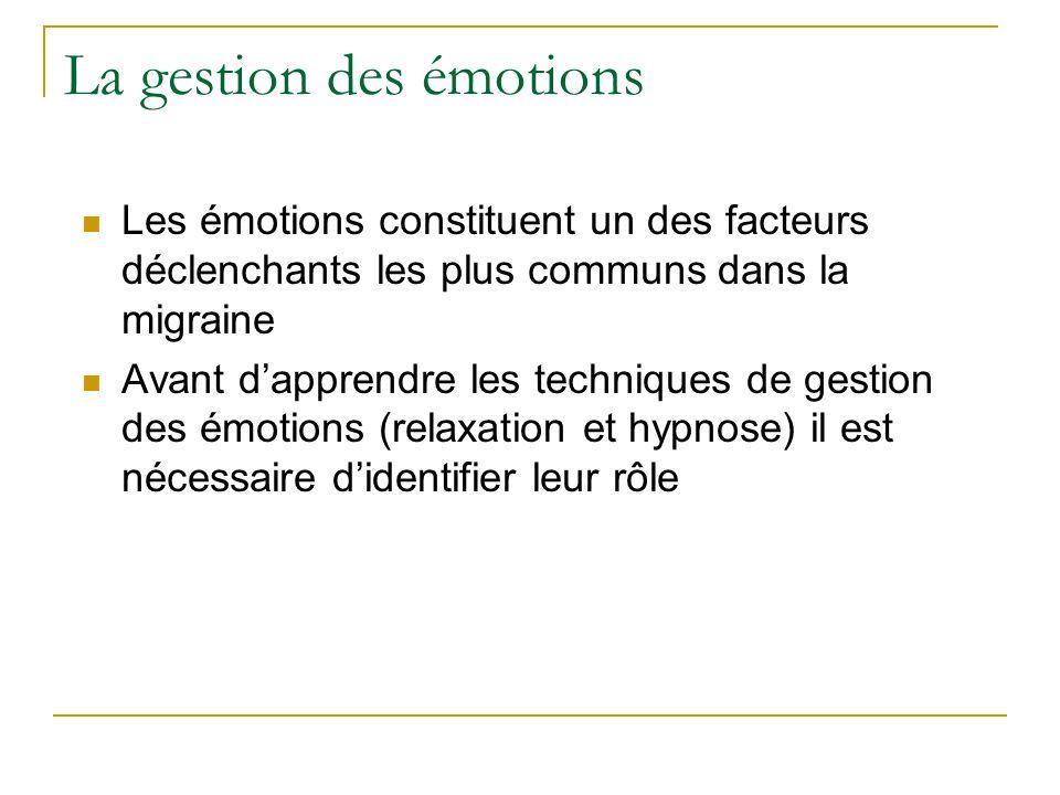 La gestion des émotions Les émotions constituent un des facteurs déclenchants les plus communs dans la migraine Avant dapprendre les techniques de ges