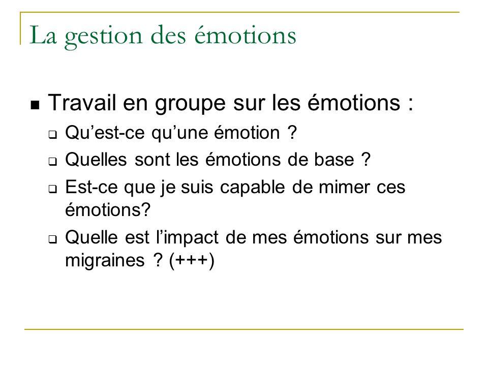 La gestion des émotions Travail en groupe sur les émotions : Quest-ce quune émotion ? Quelles sont les émotions de base ? Est-ce que je suis capable d