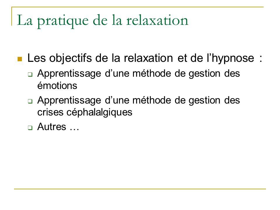La pratique de la relaxation Les objectifs de la relaxation et de lhypnose : Apprentissage dune méthode de gestion des émotions Apprentissage dune mét